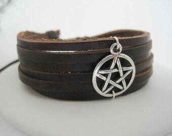 SIlver Pentagram Brown Leather Wrap Bracelet Cuff
