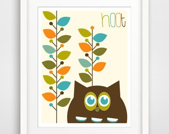 Children's Wall Art / Nursery Decor / Kid's Room Art Print Owl and Leaves print by Finny and Zook