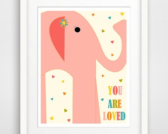 Kids Wall Art / Children's Nursery Decor You Are Loved Pink Elephant.. print by Finny and Zook