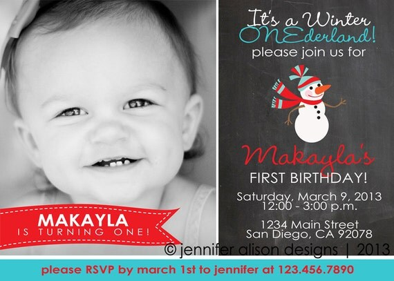 Winter ONEderland Chalkboard Snowman Party Printable Photo Invitation PERSONALIZED / Birthday Party / Baby Shower / BBQ
