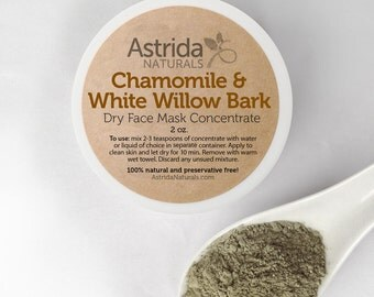 Chamomile and White Willow Bark Clarifying French Green Clay Face Mask, Natural Face Mask with Botanical Extracts