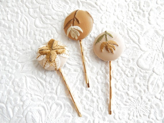 3 ivory hair-pins, embroidered hairpins, fabric hairpins, 1 1/8 inch hairpins, hair accessory, womens accessory