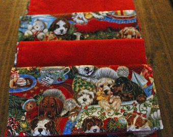Christmas Pups Reversible Cloth Napkins - Set of 4