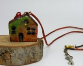 Green And Orange Mini House Necklace, House Pendant, Handmade Necklace, Miniature House Jewelry