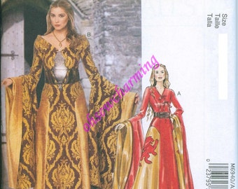 Game of Thrones Inspired Dress Sewing Pattern McCalls 6940 UNCUT Sizes 6-8-10-12-14 Medieval Gown Cersei