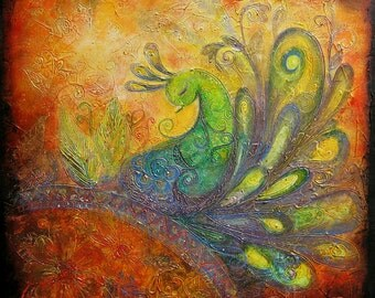 The Rising Peacock I - Large Acrylic Original Peacock Texture Painting on Canvas 20 x 20 inch | Bohemian Decor Orange Green Purple Gold