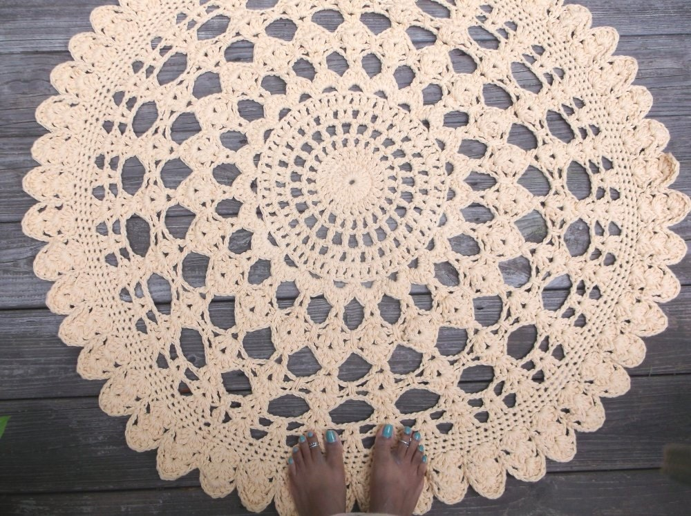 Crochet Round Rug : Yellow Cotton Crochet Doily Rug 42 Round by byCamilleDesigns