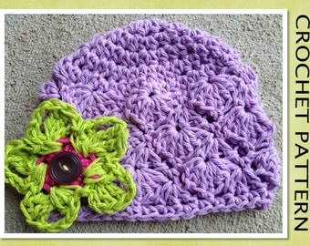 PDF Crochet Pattern - The Piper Cotton Beanie Hat with CALA FLOWER - Newborn to Adult