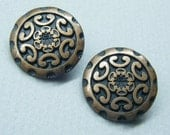 Vintage buttons, metal buttons, copper buttons, tribal design, pair of buttons