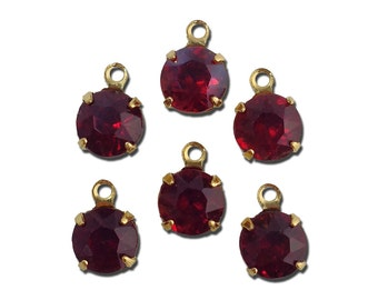 Siam Ruby Faceted Glass Stone 1 Loop Gold Setting Drops rnd017N