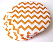 Orange & White Home Decor // Chevron Coasters // Set of 4