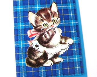 Kitten Card // Vintage Cat Card with Tears on Blue Tartan Plaid