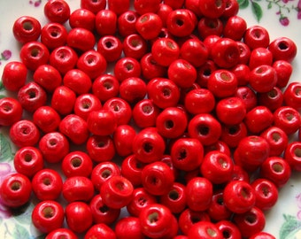 Red Wooden Beads - Over 120 - 7mm Glossy Cherry Red Wood Beads (WBD0014)
