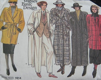 Vogue Misses Coat Pattern 1614