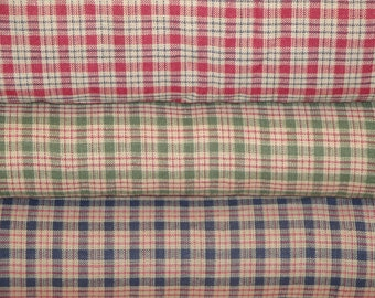 Homespun Fabric l Quilt Fabric | Cotton Fabric | Plaid Fabric | Country Cupboard Mini Plaid Fabric | Bundle Of 3 Fat Quarters