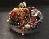 Red White Black Musketeer Rhinestone pearl vintage assemblage cuff bracelet Musketeer