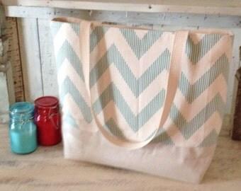 Chevron Tote Bag . Lagoona White Metallic Natural CHEVY print . Chevron beach bag . great bridesmaid gifts MONOGRAM Available