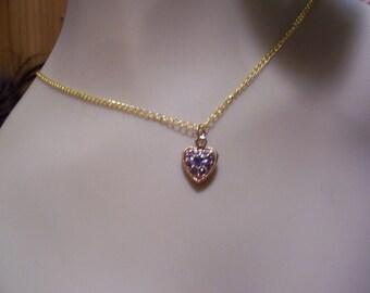 Pretty Heart Charm Necklace with purple rhinestones