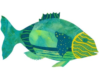 Collage Art Print: Fanciful Fish Series #3 - 8 x10 or 10x13 - Colourful Fish Design in Greens and Teal