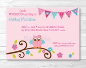 Cute Pink Owl Birthday In...