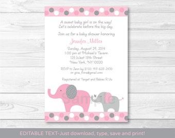 Pink Elephant Baby Shower Invitation / Polka Dot Elephant / INSTANT DOWNLOAD Editable PDF