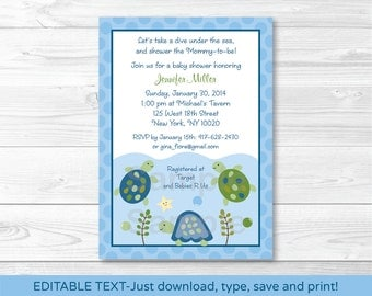 Turtle Reef Sea Turtle Baby Shower Invitation INSTANT DOWNLOAD Editable PDF