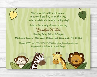Safari Jungle Animal Baby Shower Invitation PRINTABLE