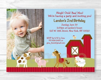 Farm Animal Birthday Invitation PRINTABLE