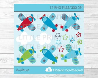 Cute Airplane Clipart / Airplane Baby Shower / Airplane Birthday / Red / Blue / Green / Baby Boy / PERSONAL USE Instant Download