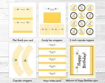 Cute Bumble Bee Birthday Party Package / Bumble Bee Birthday Decorations / Bumble Bee Party / Printable INSTANT DOWNLOAD