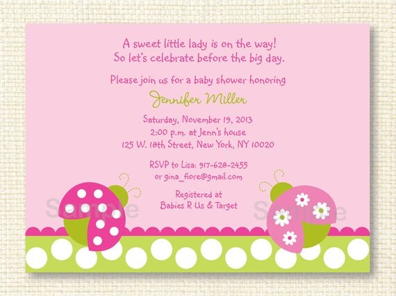 pink ladybug baby shower invitation printable by little prints inc