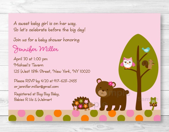 pink woodland animal baby shower invitation / woodland baby shower, Baby shower invitations