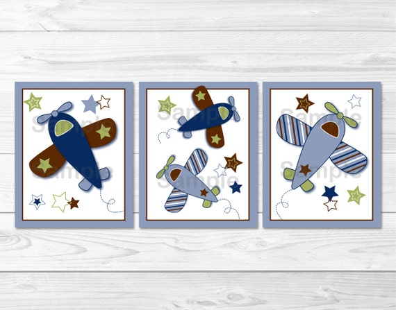 Cute Airplane Nursery Wall Art / Airplane Nursery / Airplane Wall Art / Blue & Green / Baby Boy Nursery / PRINTABLE Instant Download