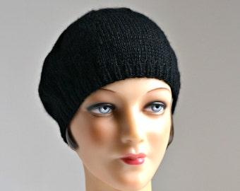 Knit Beret in Black Alpaca Wool - Hand Knitted Black Wool Beret - 2 WEEKS TO SHIP