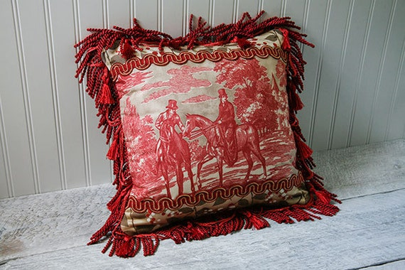 romantic red toile decorative pillow case tan by. Black Bedroom Furniture Sets. Home Design Ideas