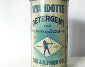 Antique Wyandotte Detergent Can - The J B Ford Co - Michigan - 1920s Scouring Powder - Large Shaker Can