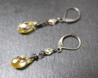 30% OFF - Simple Fits All Canary Yellow Tear Drop Swarovski Crystal Earrings - 1 pair