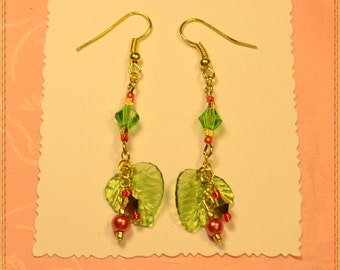 Green Leaf,Red, Gold,Green Crystal Earrings