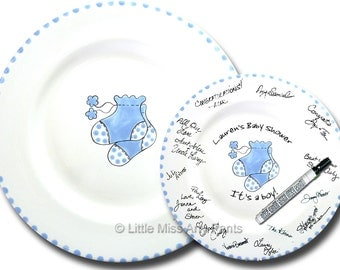 Ready to Ship - Hand Painted Signature Baby Shower Plate - Blue Booties Design