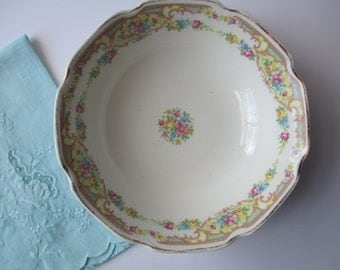 Shabby Vintage Pastel Floral Bowl and Aqua Hand Dyed Butterfly Tea Towel