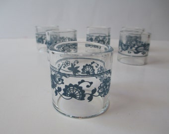 Vintage Pyrex Old Town Blue Compatibles Glass Napkin Rings Set of Six