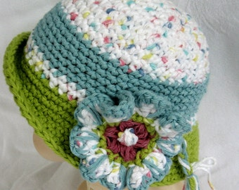 Baby Girls Crochet Hat Pattern Brimmed With Flower Trim Instant Download Multi-Sized