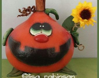 hand painted pumpkin gourd Halloween jackolantern hp JOL fall sunflower flower teamhaha hafair ofg prim chick lisa robinson