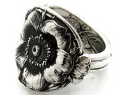 Amazing Detail Sterling Spoon Ring Wild Rose Watson Size 6-12