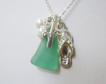 Flip-Flop Aquamarine Sea Glass Necklace Beach Glass Necklace Seaglass Jewelry Summer Jewelry