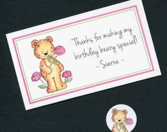 Personalized Birthday Party Favor Topper Label, Candy Stickers and Plastic Bag Set, teddy with roses, set of 20