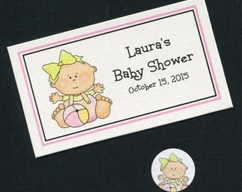 Personalized Baby Shower Favor Topper Labels, Candy Stickers and Plastic Bag Set, baby girl with ball, set of 40