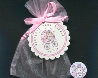 Personalized Baby Girl Baby Shower Favor Candy Bags With Pink Buggy Includes Tags, Candy Stickers, Pink Organza Bags