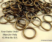 100 Bronze Jump Rings 10mm Antique Plated Iron 18 Gauge NF 10mm Outside - 100 pc - F4003JR-AB10mm10 - Select Qty