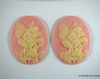 2 Pink Oval Cameo Resin Ivory Fairy with Flowers 40x30mm - 2 pc - CAM2035-PKIV2-AG